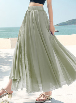 Pure Color Elastic Waist A Line Skirt