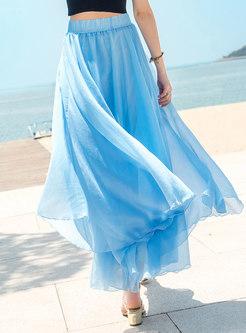 Bohemia Pure Color Elastic Waist A Line Skirt
