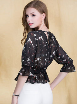 Chiffon Floral Print Waist Single-breasted Blouse