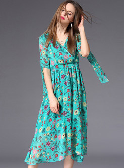 Green Floral Print The Waist Chiffon Dress