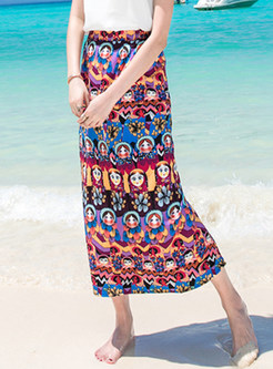Bohemian Print Beach Bodycon Skirt