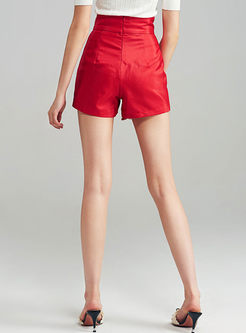 Red Stylish High Waist Lace-up Shorts