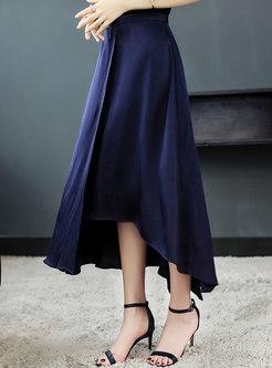 Brief High Waist Asymmetric Hem Skirt