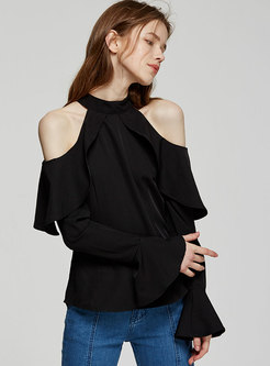 9dfad265d986e ... Sexy Off Shoulder Flare Sleeve Blouse ...