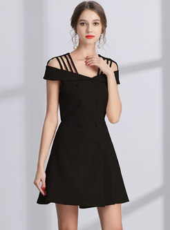 Elegant Off Shoulder Double-breasted A Line Dress