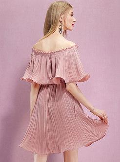 Pink Off Shoulder Falbala Mini A Line Dress