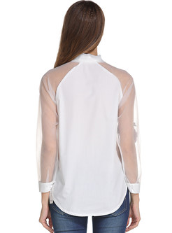 White Stereoscopic Embroidered Perspective Blouse