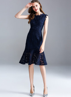 Navy Blue Lace Mermaid Dress