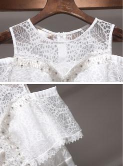 White Off The Shoulder A Line Dress