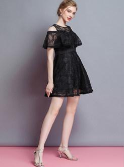 Black Lace Hollow Out A Line Dress