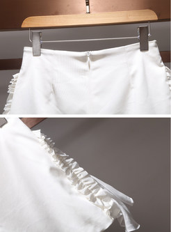 White Casual Stringy Selvedge Splicing Shorts