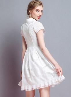 White Nail Bead Lapel Skater Dress