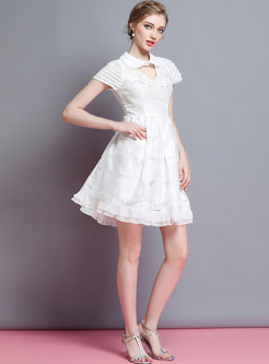 White Nail Bead Lapel Skater Dress