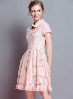 Pink Embroidered Short Sleeve Skater Dress
