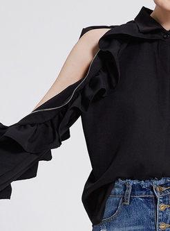 Black Casual Lapel Falbala Zipper Blouse
