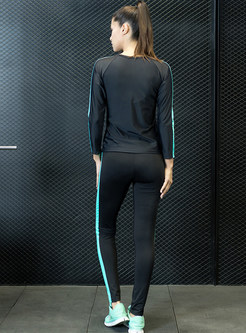 Stylish Vertical Striped Slim Tracksuit