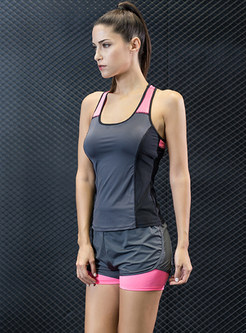 Sport Sleeveless Hit Color Short Tracksuit
