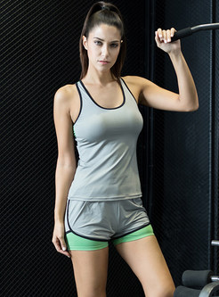 Brief Scoop Sleeveless Vest & Yoga Shorts