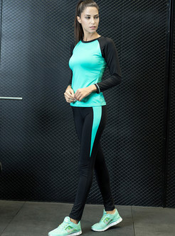 Fashion Contrast Color Quick-dry Tracksuit