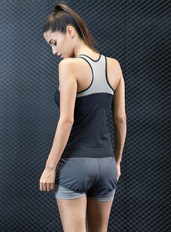 Sport Sleeveless Hit Color Short Tracksuit