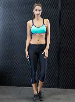 Vertical Striped Contrast Color Sport Bra