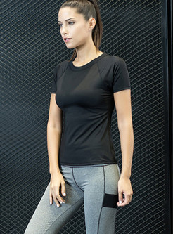Black Short Sleeve Slim Top