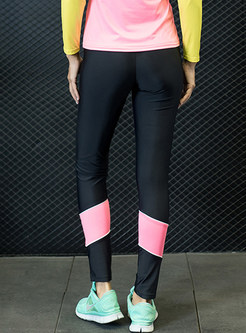 Fashion Color-blocked Sheath Sport Pants