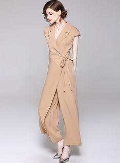 d51658b1e629 ... Solid Color Notched Bowknot Work Jumpsuit ...