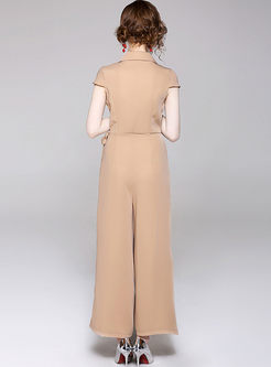 fe3ce38b82e3 Solid Color Notched Bowknot Work Jumpsuit Solid Color Notched Bowknot Work  Jumpsuit ...
