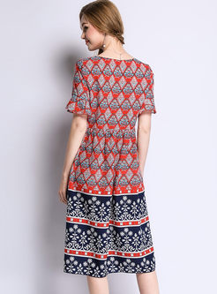 Vintage Print Flare Sleeve Plus Size A Line Dress