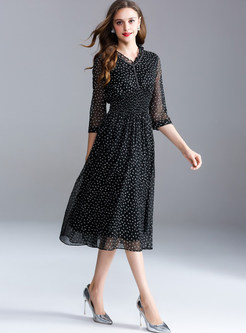 Black Dot Print Elastic Waist Midi Dress