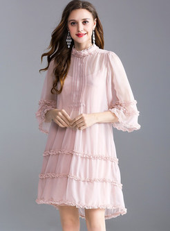 Pink Loose Stitching Shift Dress