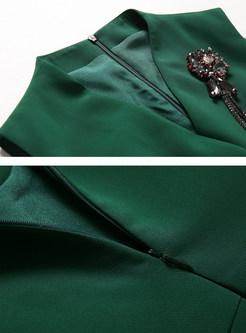 Green Nail Bead Sleeveless Bodycon Dress