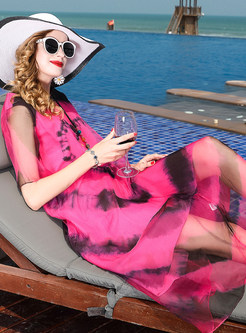 Casual Silk Hit Color Shift Dress