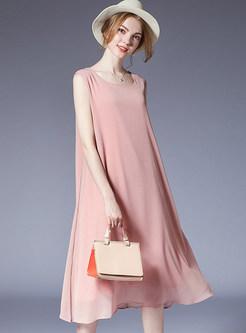 Pink Casual Sleeveless Midi Dress