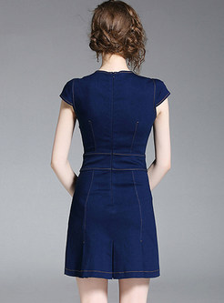 Stylish Belted Slim A Line Dress