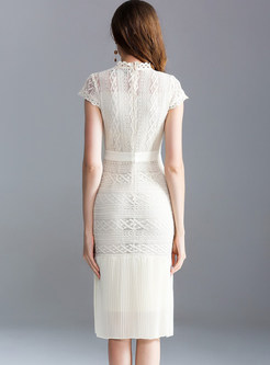 Hollow Out Short Sleeve Lace Sheath Dress