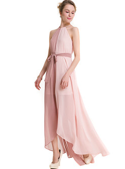 Hit Color Sleeveless Belted Maxi Dress