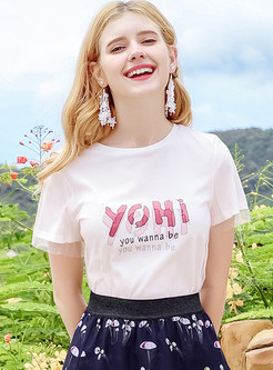White Letter Print Short Sleeve T-shirt