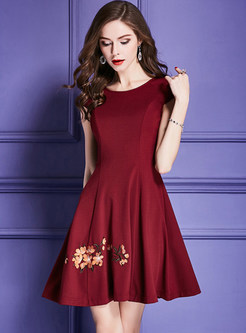 Elegant Flower Embroidery A Line Dress