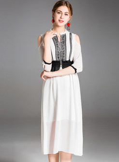 White Lace Splicing A Line Dress