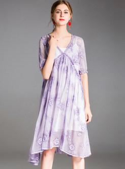 Purple V-neck Stringy Selvedge Shift Dress