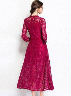 Wine Red Hollow Out Maxi Dress