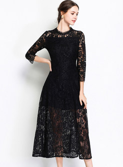 Black Stand Collar Big Hem Maxi Dress