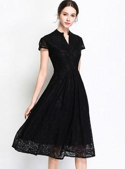 Black Vintage V-neck Big Hem Dress