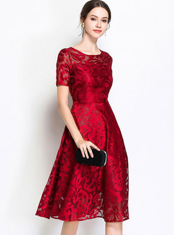 Wine Red Short Sleeve A Line Dress