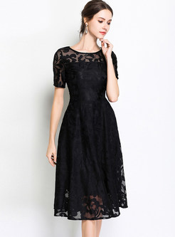 Black Embroidery High Waist A Line Dress