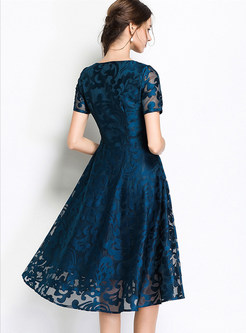 Deep Blue Embroidered Big Hem A Line Dress
