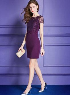 Purple Lace Stitching Formal Sheath Dress