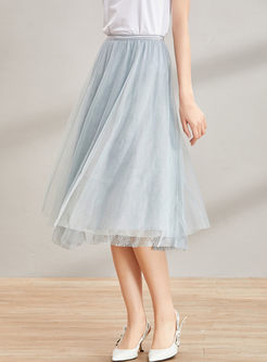 Street Solid Color Gauze A Line Skirt